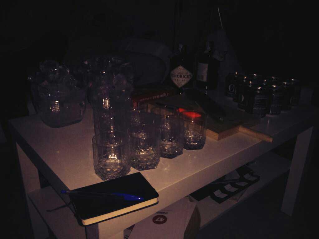 Mesa preparada para el GinAndUX