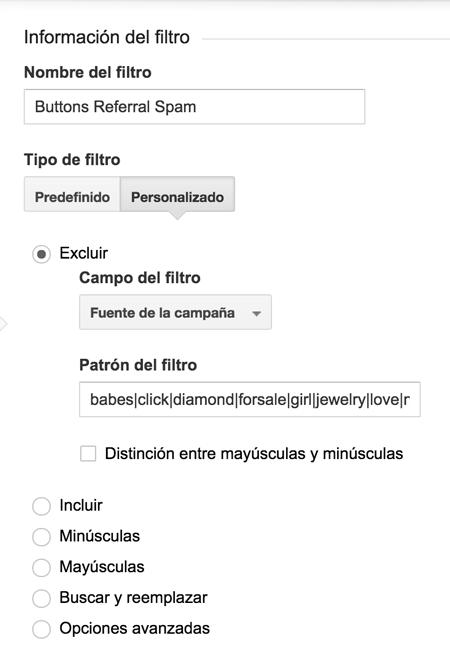 Agregar un filtro de exclusión en Google Analytics