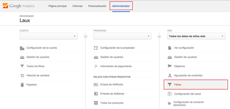 Sección de filtros en Google Analytics