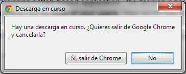 Salir de Chrome con descarga activa